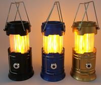 ingrosso quadrati led diodi luminosi-Multifunzione LED Camping Flame Lamp Outdoor Torce di emergenza pieghevole Torcia portatile per l'escursionismo Camping Halloween Natale LF