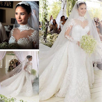 Wholesale trumpet wedding dress cathedral for sale - Group buy 2020 Luxury High Neck Long Sleeve Mermaid Wedding Dress With Detachable Train Lace Applique Beaded Crystal long Cathedral Train Bridal Gowns