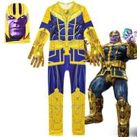 vingadores crianças venda por atacado-Avengers Alliance4 Into the Thanos Cosplay ternos 2019 New Kids Vingadores Thanos traje cosplay roupas + máscara 2 pcs Conjoined Party Dresses C32