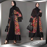 печать цен оптовых-Заводская цена мусульманские женщины лоскутное открыть Абая S-5XL плюс размер исламские женщины цветочный принт кимоно Дубай Абая