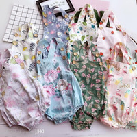 ingrosso frutta pagliaccetto-Ins di New Baby Girl Toddler Summer Outfit in cotone Flamingo Rose Floral Fruit Pagliaccetto Onesies Jumper Tute Pigiama Bloomers
