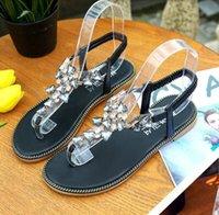 bande antidérapante achat en gros de-Nouvelle mode estivale en cuir strass romain plat anti-dérapant bas sandales respirantes femmes en bord de mer bande elestic