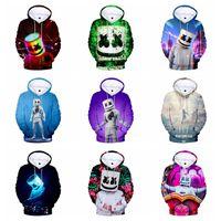 casacos de impressão 3d venda por atacado-11 Estilo DJ marshmello hooded soat impresso 3D Camisola Jaqueta mangas compridas crianças tops de algodão dos desenhos animados