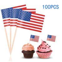 kek kekleri toptan satış-100 adet İNGILTERE Kürdan Bayrak Amerikan Kürdan Bayrak Cupcake Yonca Pişirme Kek Dekor İçecek Bira Sopa Parti Dekorasyon Malzemeleri DH1214