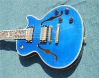 inlays de abalone guitarra elétrica venda por atacado-Roxo top arqueado de volta semi corpo oco guitarra elétrica Guitarra Frete grátis toda a cor aceitar embutimento videira abalone