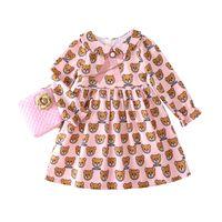 muñecas princesa china al por mayor-bebé al por menor vestidos de niña de la muñeca de la solapa de peluche vestidos de princesa de volantes impresos para la ropa de niños de diseño muchachas del vestido de la ropa boutique de los niños