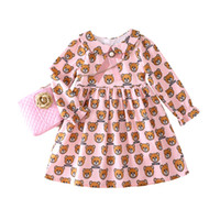 bebek kızı elbisesi toptan satış-Perakende kız bebek elbiseleri yaka bebek çocuk tasarımcısı giysiler için baskılı fırfır prenses elbiseler kızlar çocuk butik giysiler giydirin ayı