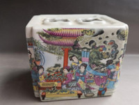 antigas, pintura, escovas venda por atacado-Porcelana velha chinesa Vaso de porcelana esmalte pintado vaso pote kug
