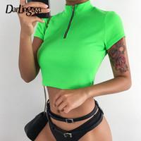 ernte t-shirts großhandel-Darlingaga Mode gerippt neon grün gestrickt t shirt frauen kurzarm reißverschluss neon crop tops tees 2019 sommer t-shirts kleidung