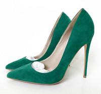 ingrosso scarpe verdi per le donne tacchi alti-Primavera 2019 New Green Suede Pointed Red Bottom Scarpa con tacco alto con tacco e sdrucciolevole Scarpa 10cm Scarpe con tacco alto da donna