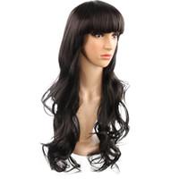 черные парики красоты оптовых-Корейский стиль Горячий продавать 26 дюймов длинные волнистые красоты челка синтетические черные парики для девочек