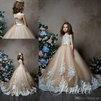 27aa8245cdbdee Wholesale baby dresses pictures for sale - Pentelei Champagne Flower Girl  Dresses For Weddings Jewel Neck