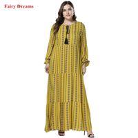 Wholesale fashion world dresses for sale - Group buy Dubai Abayas For Women Long Robe Bangladesh World Apparel Islamic Clothing Kaftan Yellow Plus Size Muslim Fashion Maxi Dress XL