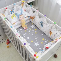Wholesale reactive cotton printing bedding resale online - 5 set Fairy Tale Cockhorse Baby Bedding Set Cotton Baby Cot Linens Crown Shape Crib Bumpers Bed Sheet for Boys Girls