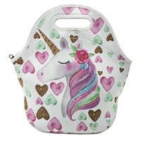 Wholesale lunch bags for sale - Unicorn lunch bags tote cartoon printed Neoprene Lunch Box portable outdoor travel Picnic Lunch Zipper storage Bag FFA1774