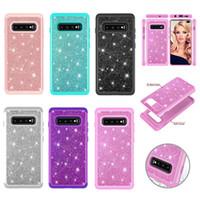 telefon kutuları galaksi çekirdeği toptan satış-2 in 1 Zırh Vaka Samsung Galaxy S10 artı S10e Glitter Telefon Kılıfı J7 A6 2018 Silikon Kapak J2 Çekirdek Kabuk Kadınlar