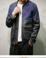moda coreana al por mayor-Invierno Otoño Denim Chaqueta de béisbol Hombres Patchwork Tallas grandes 5XL Mangas diferentes Retro Moda coreana Jeans prendas de vestir exteriores Venta caliente