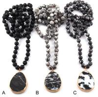 Wholesale bohemian semi precious necklaces for sale - Group buy Fashion Bohemian Tribal Jewelry Semi Precious Stones Long Knotted Black Drop Pendant Necklaces