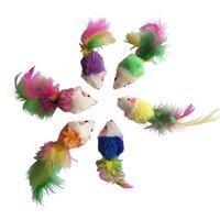 mini gatitos al por mayor-Nuevo 6 unids juguetes coloridos del gato falso ratón interactivo Mini divertido felpa Animal juguetes para gatos gatito