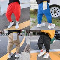bebek bat pantolon toptan satış-Erkek kot çocuk Kore moda pantolon çocuk 2019 sonbahar erkek bebek batı tarzı pantolon erkek erkekler