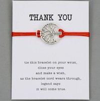 baum leben kinder großhandel-Glücklicher Lebensbaum Rote Schnur Wunsch Armband Für Frauen Männer Kinder Einstellbare Seil Geflochtene Armband Mutter Tochter Paar Geschenk