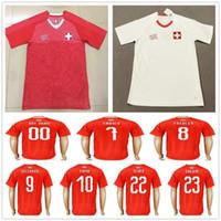 швейцария оптовых-Футболки национальная Швейцария 10 XHAKA 9 SEFEROVIC 8 FREULER 7 EMBOLO 11 BEHRAMI 23 SHAQIRI Настроить футболку Swiss Home Away