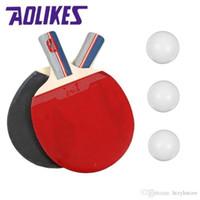 mejor tenis de mesa de goma al por mayor-Venta al por mayor - La mejor raqueta de tenis de mesa Aolikes Pingpong Bat mango corto Dos pips-in de mesa de tenis de goma rackt con 3 pelotas de ping-pong