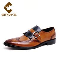плоские подошве мокасины пряжки оптовых-Sipriks  Men Tassel Loafers With Buckle Strap Single Monk Strap Shoes Genuine Leather Wingtip Dress Shoes Rubber Sole Flat
