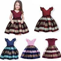 avrupa yaz çocuk giyim toptan satış-Kız Avrupa ve Amerikan Yaz Kız Giydirme Patchwork Sashes Çocuk Giyim Prenses Balo Elbise 3-10 yaşında için çocuklar Elbiseler