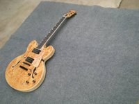 Wholesale custom made electric guitars for sale - Group buy Manufacturers custom made hot classic string jazz electric guitar wood color veneer black accessories double hole F hollow body Custom