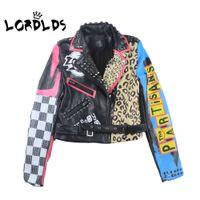 ingrosso giacche da biker per le donne-LORDLDS Giacca di pelle Donna 2019 New Spring Biker Giacche Moto Turn down colletto Punk Rock Streetwear Cappotti donna