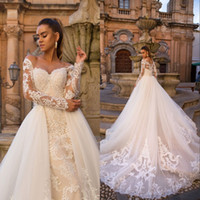 Wholesale illusion neckline mermaid gowns for sale - Group buy Mermaid Vintage Wedding Dresses with Detachable Train In Illusion Neckline Long Sleeve Lace Bridal Gowns