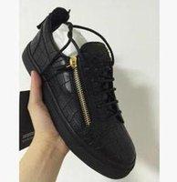 saco de couro italiano dos homens venda por atacado-Saco de poeira caixa original 2019 HOT italiano sapatos casuais de luxo Zanotti zippe20 homens e mulheres de baixo para ajudar sapatos baixos designer de sapatos de couro dos homens