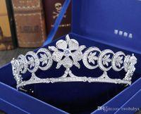 верхние диафрагмы тиары оптовых-Высокого класса Европейский свадебный Циркон корона тиара корона свадебные аксессуары для волос свадебное платье аксессуары