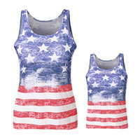 Wholesale outfit family for sale - Group buy Mother Kids Star Print Vest Sleeveless Vest American Flag Independence National Day USA th July Stripe Family Matching Outfits S XL