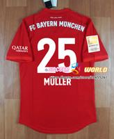 jersey ajustado al por mayor-Nueva temporada Versión de jugador ajustada Bayern Munich casa MULLER BOATENG LEWANDOWSKI Uniforme de fútbol Jersey de fútbol Top qaulity