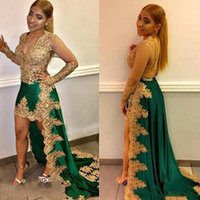 Wholesale nude hi low party dress for sale - Group buy Arabic Gold Appliques Evening Dresses Beaded High Low Green Prom Dress Sheer Long Sleeve South African Party Gown