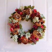 peônias de natal branco venda por atacado-Wreath Recados Porta Branco Peony Coroa de Natal Ornamento de suspensão do Rattan Redonda Garland Decoração Flor Artificial Flor Falso