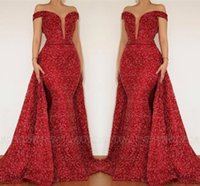 Wholesale evening dresses for sale - Sparkle Red Sequined Evening Dresses Formal A Line Off Shoulder Sheer Plunging Neck Mermaid Pageant Gowns Prom Dress BC1459