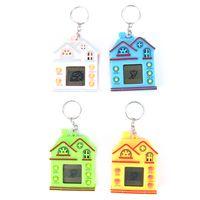 mini resina casas venda por atacado-Máquina de Jogo nostálgico Com Chaveiro Mini House Design Chave Anel Virtual Digital Eletrônico Animais de Estimação Brinquedo Keychain 4 Cores