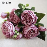 buquê de peônia vermelha artificial venda por atacado-Decoração do casamento YO CHO Moda Bonita Peony Artificial Rose Flores de seda Flores Bouquet Branco Peony Rose Red Falso Flores