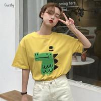 top de algodão spandex nylon venda por atacado-T dos desenhos animados estilo da camisa Summer manga curta O Pescoço de animal Cotton Imprimir Spandex Mulheres Tops solto Camiseta Mulheres