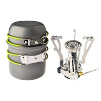 Wholesale set pots stainless for sale - Group buy Outdoor Camping Hiking Backpacking Picnic Cookware Cooking Tool Set Pot Pan Piezo Ignition Canister Stove Travel Cookware