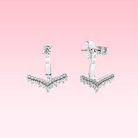 Wholesale beautiful diamond pendants for sale - Group buy Beautiful CZ diamond Pendant Earring Women Summer Jewelry for Pandora Silver Princess wish bone Stud Earrings with Original box