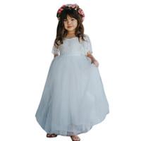 tomurcuklu ipek prenses toptan satış-Çocuklar Kız Çiçek O-Boyun Elbise kızlar kısa kollu tomurcuk ipek tül Prenses beyaz Dantel Tül Parti Gelinlik Pageant elbise
