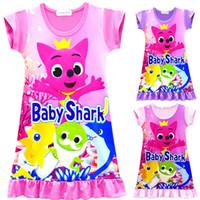 bebek gece kıyafetleri toptan satış-2019 Bebek Köpekbalığı Elbiseler INS Kızlar Yaz Karikatür Köpekbalığı Elbise Kısa Kollu Etek Pijama Bebek Gece Etek Giysileri pijama gecelik satış