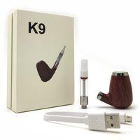 pipas para fumar al por mayor-K9 original vaporizador cigarrillo electrónico Kit de la pipa de la batería 900mAh VV batería con 1,0 ml USB cargador de cartucho de vidrio Vape Kits de pluma