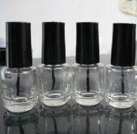 artes marciales al por mayor-5 ml de la forma redonda recargable vacío de uñas transparente de cristal botella de esmalte para Diseño de uñas con el casquillo Negro Cepillo