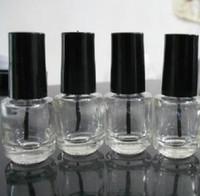 frasco de esmalte de unha recarregável venda por atacado-5ml forma redonda recarregáveis garrafa polonês vazio prego de vidro claro para Nail Art com tampão preto da escova