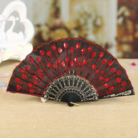 pfau tanz fan großhandel-Pailletten Tanzen Fan Peacock Folding Hand Fans Frauen Bühne Leistung Prop Gestickte Pailletten Hand Party Decor Fan KKA7025